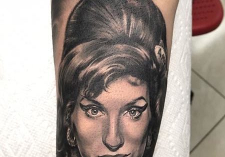 Amy Winehouse Portrait Tattoo