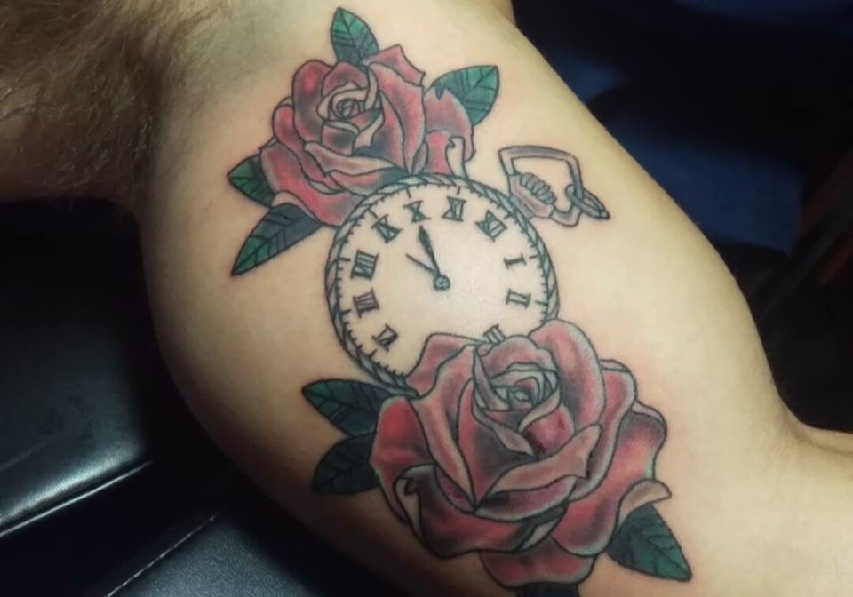 Traditional Rose And Clock Tattoo