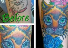 Cover up tattoo of a cat