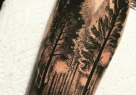 Red Umbrella Woods Tattoo Design