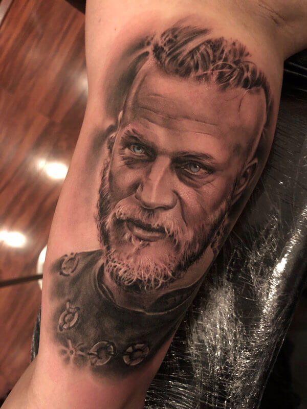 Realistic Viking Tattoo done in our Tattoo Shops in Miami Beach