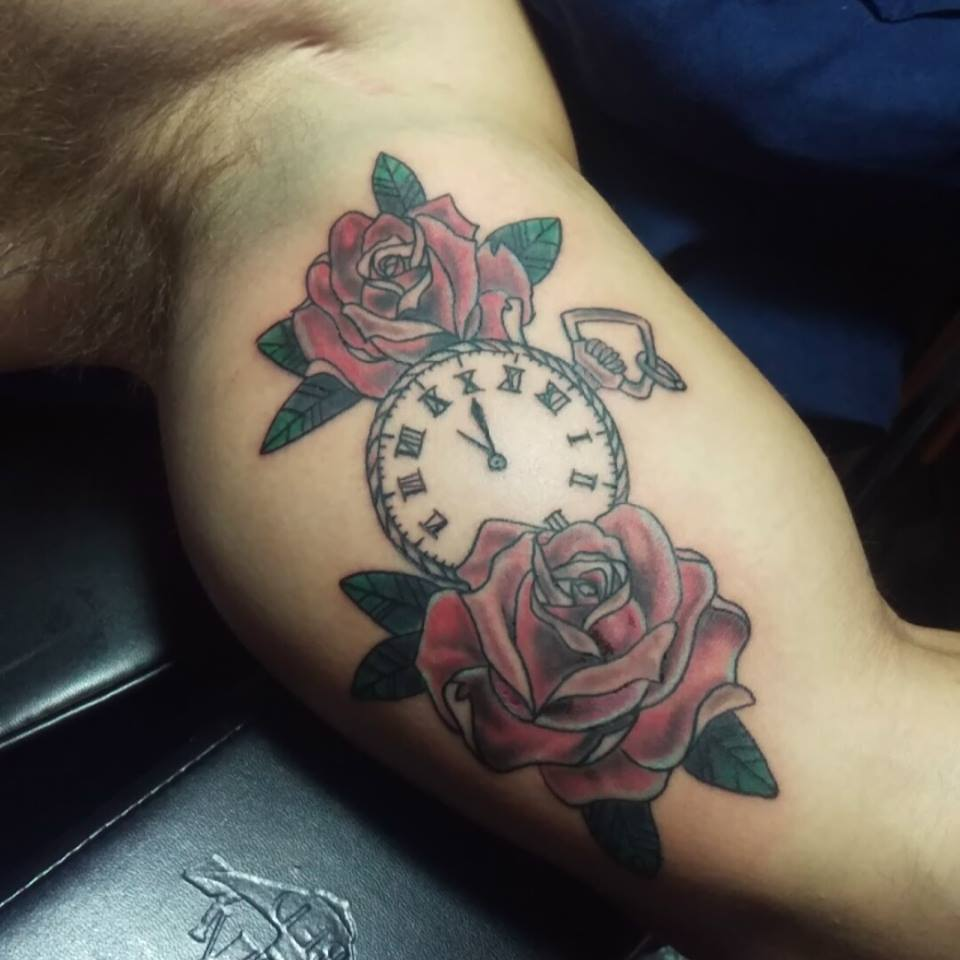Traditional Rose And Clock Tattoo Pembroke Pines
