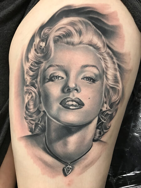 6f748f170 Tattoo Portrait of Marilyn Monroe Done at our Tattoo Shops in Miami FL