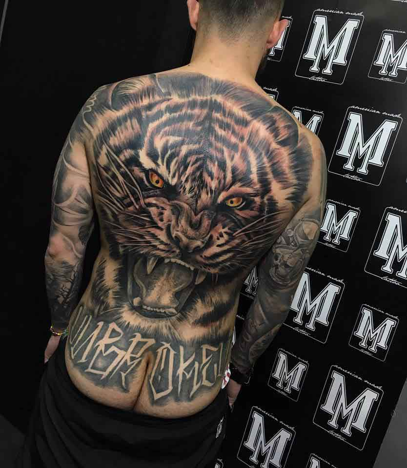 Back Tattoo Of A Tiger Large Scale Pembroke Pines
