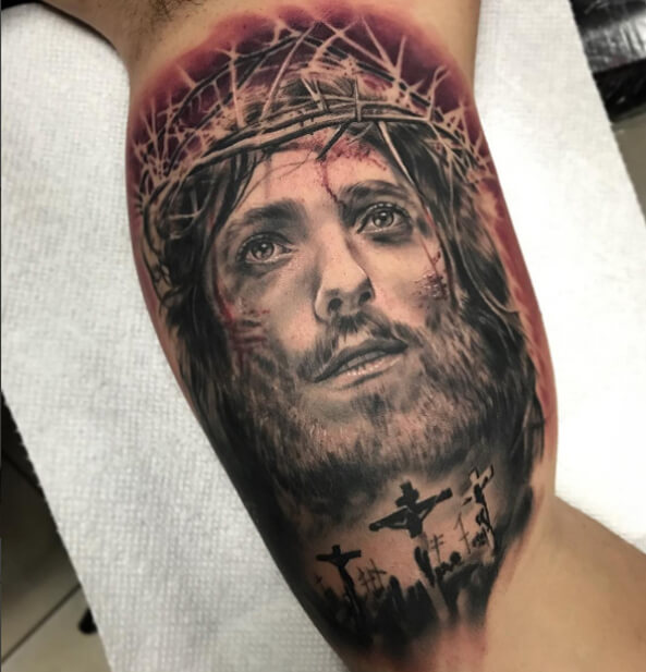 332de78c7 Portrait Tattoo of Jesus Christ Done at our Tattoo Shops in Miami